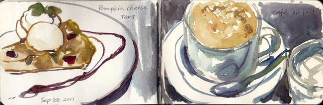 Caf_au_lait_and_pumpkin_cheese_tart