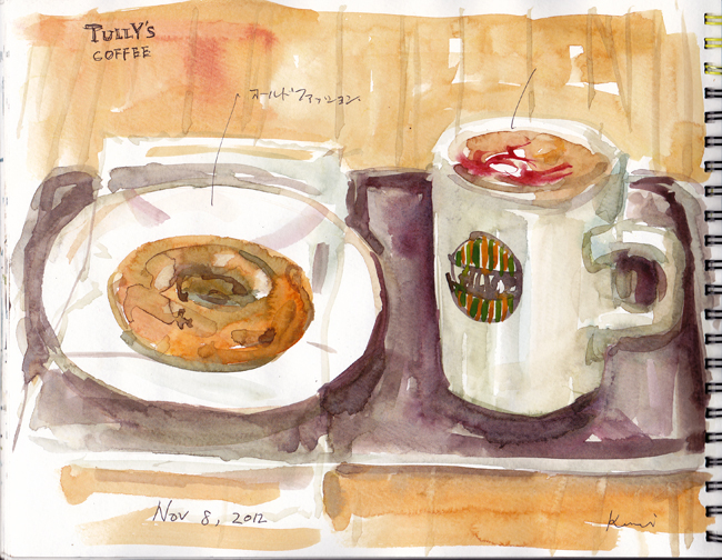A_doughnut_and_coffee_with_raspbe_2