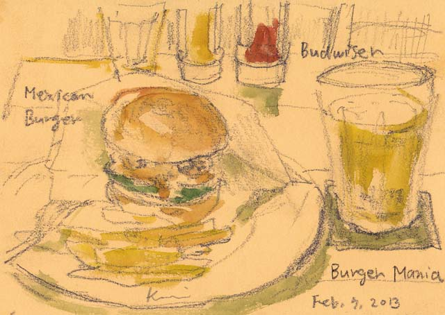 A_mexican_burger_and_a_glass_of_bee