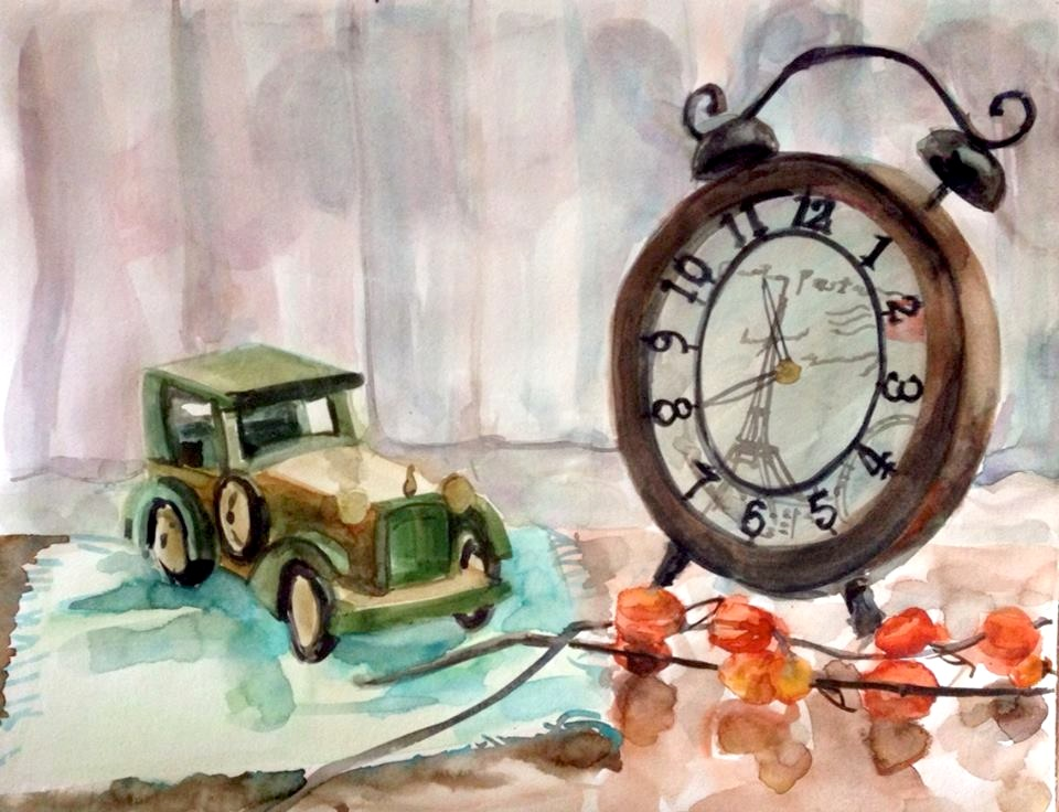 A_car_and_a_clock